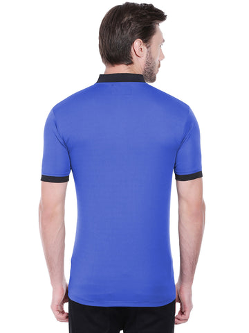 ACTIVE DRY BASEBALL COLLAR TSHIRT - BLUE
