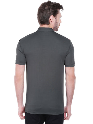 ACTIVE DRY SHOULDER PATCH POLO TSHIRT - GREY