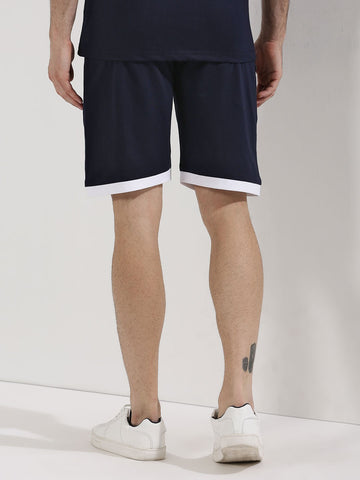 Cotton Shorts with Contrast Hem - Navy