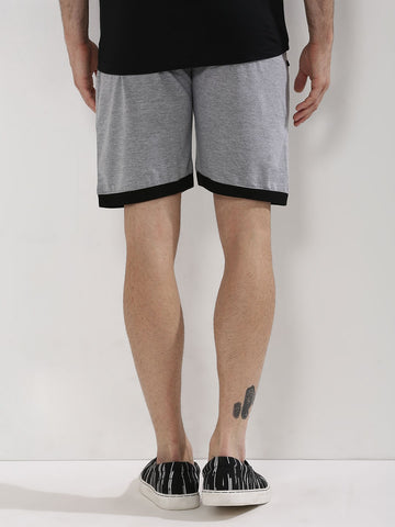 Cotton Shorts with Contrast Hem - Grey