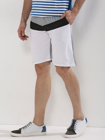 CUT AND SEW PANEL SHORTS - NAVY/WHITE/GREY