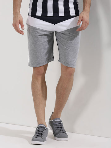 CUT AND SEW PANEL SHORTS - GREY/BLACK/WHITE
