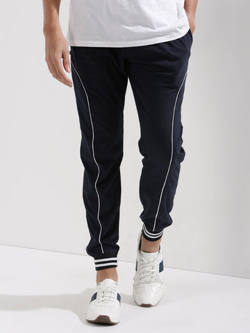 Striped Cuff Joggers - navy