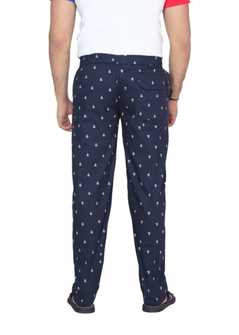 Navy Nautica Print Cotton Pyjamas (Tracks)