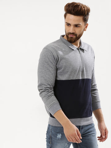 Half Zip Collar Sweatshirt - Grey/Navy