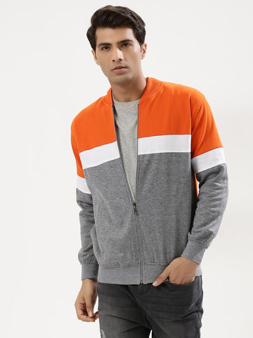 COLOR BLOCK JACKET - ORANGE/WHT/GREY