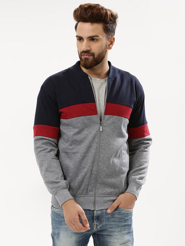 Copy of COLOR BLOCK JACKET - NAVY/RED/GREY