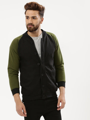 SNAP BUTTON BOMBER WITH CONTRAST SLEEVE - OLIVE / BLACK