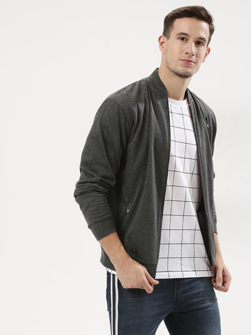 3 Zip Grey Bomber Jacket