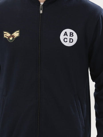 Navy Bomber Jacket with Badges