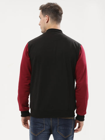 BLACK RED CONTRAST BOMBER JACKET
