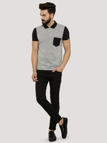 Polo Tshirt with Contrast Sleeves and Collar