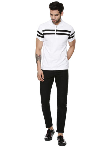 Chest Stripes White Polo T-shirt