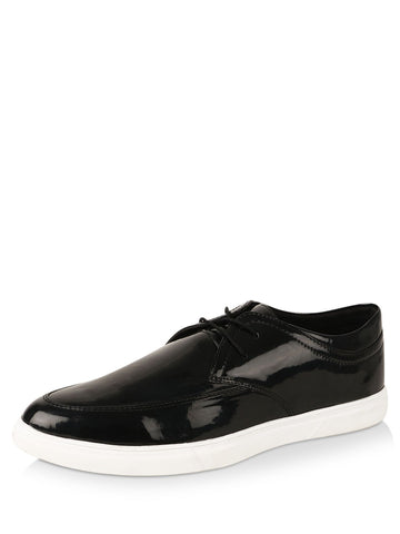 Patent Leather Black Lace Shoes