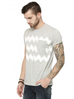 ZIG-ZAG PRINTED TSHIRT WITH PLAIN POCKET