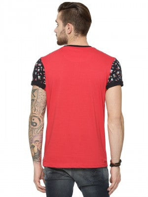 FLORAL PRINT TSHIRT WITH CUT STITCH