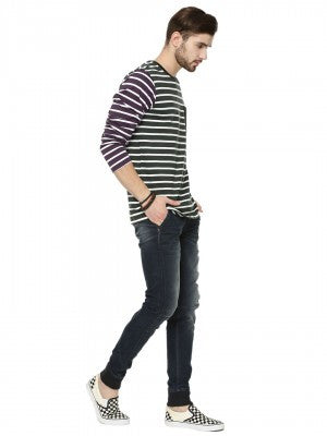 DUAL COLOR FULL SLEEVE STRIPE WITH CONTRAST POCKET