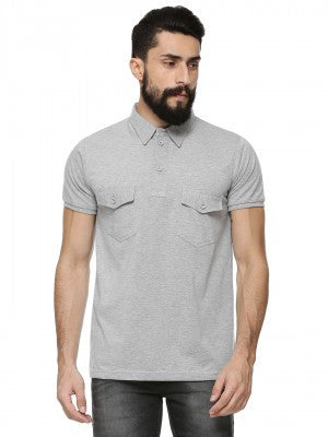 GREY PLAIN POLO TSHIRT WITH DUAL POCKET