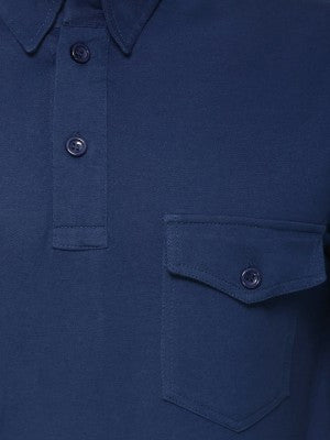 NAVY PLAIN POLO TSHIRT WITH DUAL POCKET