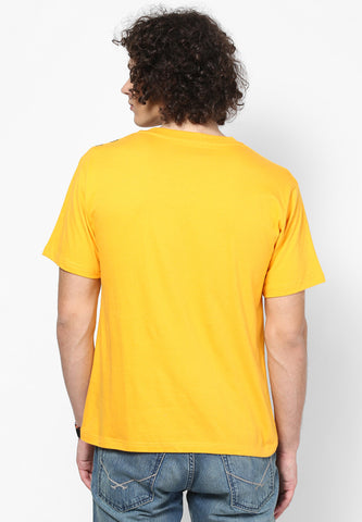 Foil Stripe V neck Cotton Tshirt - Mango