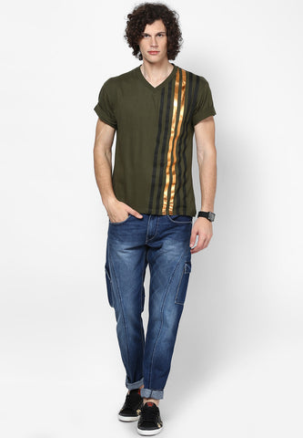 Foil Stripe V neck Cotton Tshirt - Olive Green