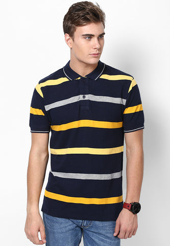 BLACK  POLO  WITH GOLD & GREY STRIPES