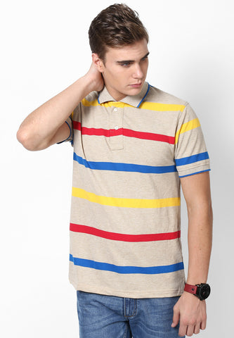BEIGE POLO T-SHIRT WITH BLUE RED YELLOW STRIPES