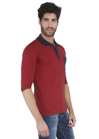 Thin Stripes Polo Tshirt Red