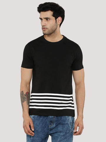 Stripe Stepped Hem Tshirt - Black