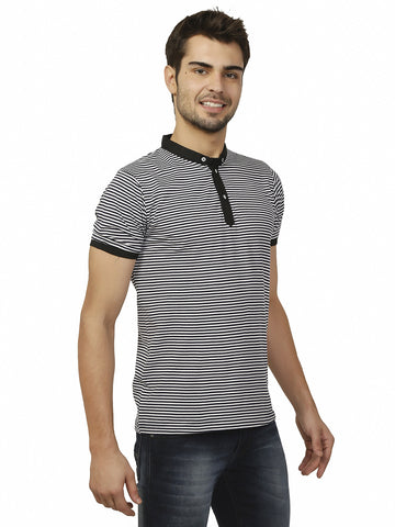 Thin Stripe Black White Mini Collar Tshirt
