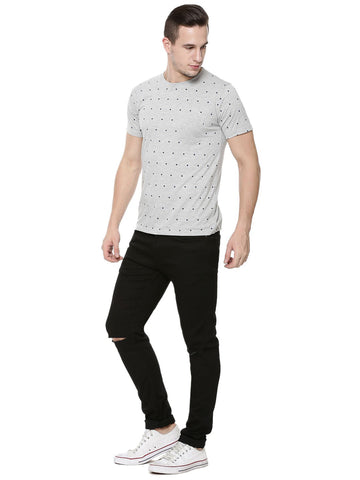 Polka Dots with Patch Pocket Tshirt - Grey