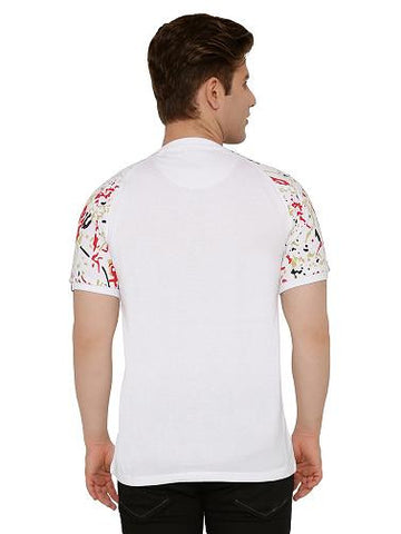 Abstract Sleeve Printed Tshirt With Centre Zip