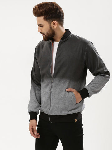 BLACK GREY SPRAY BOMBER JACKET