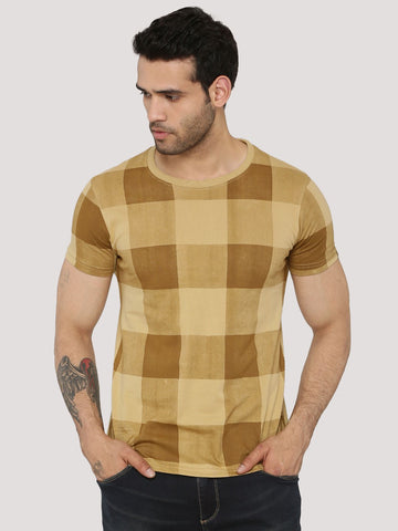 Checks T-Shirt - Sand