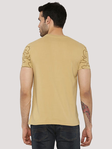 Map Printed T-Shirt Sand