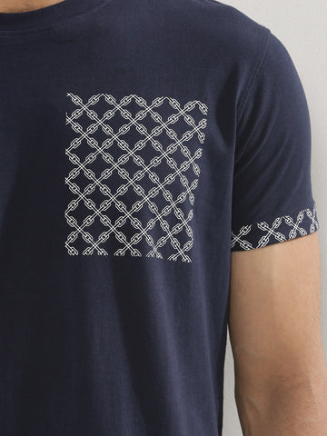 Printed Patch Pocket Tshirt - Blue