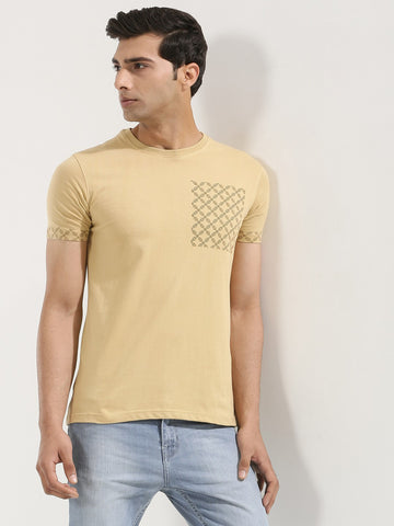 Printed Patch Pocket Tshirt - Sand