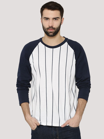 Baseball T-Shirt With Contrast Sleeves - Navy