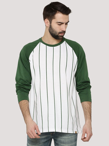 Baseball T-Shirt With Contrast Sleeves - Olive