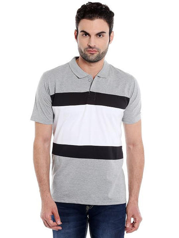 MULTI PATCH POLO TSHIRT - GREY