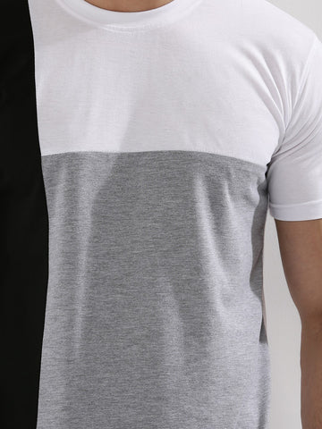 Contrast Panel T-Shirt - BLACK / WHITE / GREY