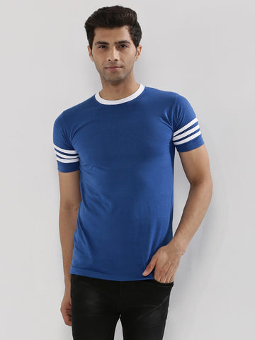 STRIPED SLEEVE TSHIRT - BLUE