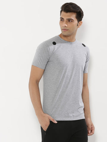 Floral Applique T-Shirt - Grey Melange