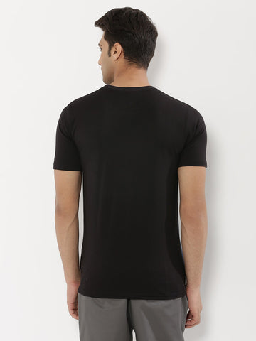 CONTRAST PANEL TSHIRT - BLACK/NAVY