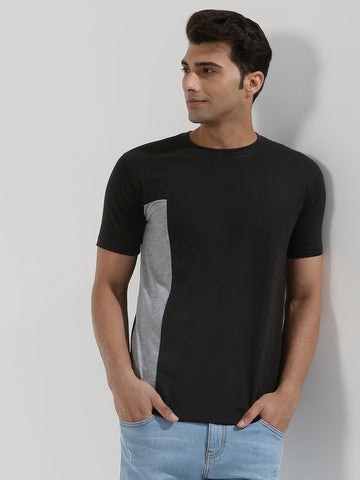 CONTRAST PANEL TSHIRT - BLACK/GREY
