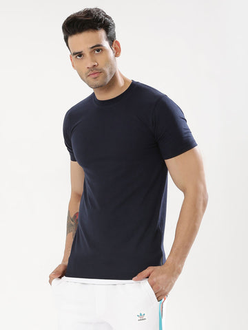 T-Shirt With Contrast Hem & Side Zipper - Navy / White