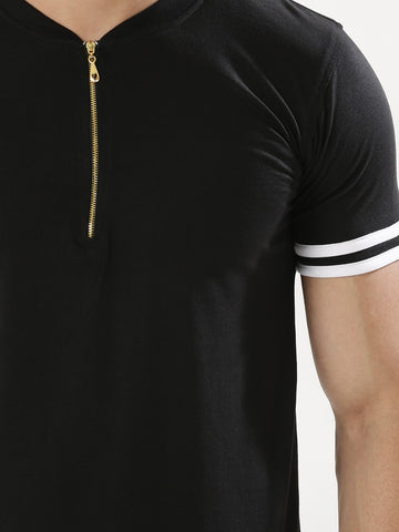 Striped Sleeve Polo With Zip - Black
