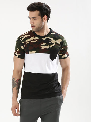 Cut & Sew Camo Panel T-Shirt - Camo/White/Black