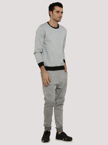 GREY MELANGE WITH CONTRAST CUFF SWEATSHIRT