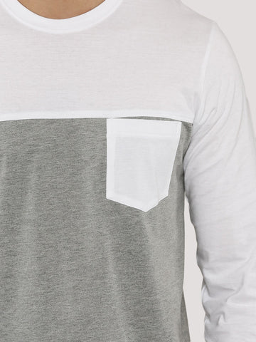 Dual Color T-Shirt - White Grey